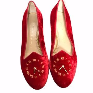 RARE Charlotte Olympia Red Velvet Loafers size 37